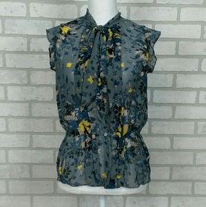 Loft Gray Blouse with Blue/Yellow Floral Sz SM
